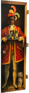 Furniture , A Ron Roberts Acrylic on Panel Door Depicting a Moorish Servant. 80 inches high x 24 inches wide (203.2 x 61.0 cm). ...