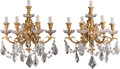 Decorative Arts, Continental:Lamps & Lighting, A Pair of Five-Light Gilt Bronze and Glass Sconces, 20th Century.19-1/2 h x 16-1/2 w x 13-1/2 d inches (49.5 x 41.9 x 34.3 ...(Total: 2 Items)