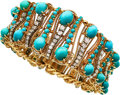 Estate Jewelry:Bracelets, Diamond, Turquoise, Chrysoprase, Gold Bracelet . ...