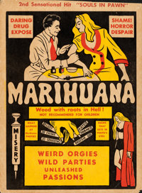 """Marihuana (Roadshow Attractions, 1936). Trimmed Window Card (14"""" X 19"""")"""
