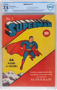 Superman #2 (DC, 1939) CBCS Restored VF- 7.5 Slight to Moderate (P) White pages