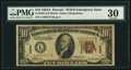Small Size:World War II Emergency Notes, Fr. 2303 $10 1934A Hawaii Federal Reserve Note. PMG Very Fine 30.....
