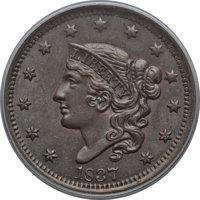 1837 1C Head of 1838, N-10, R.1, MS64 Brown PCGS. PCGS Population: (2/5). NGC Census: (4/3). MS64. Mintage 5,558,300...