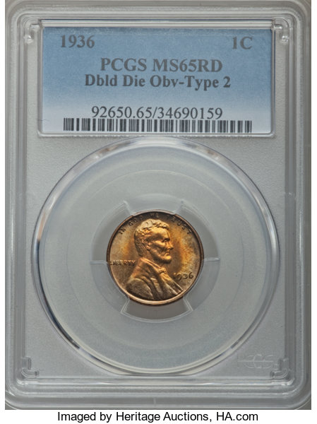 1936 Lincoln Cent MS65 PCGS Red Doubled Die Obverse T2