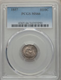 Seated Half Dimes: , 1857 H10C MS66 PCGS. PCGS Population: (35/13). NGC Census: (43/12). Mintage 7,280,000. ...