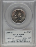 Statehood Quarters, 2000-D 25C Virginia MS68 PCGS. PCGS Population: (17/0). NGC Census: (14/0). . From The jwb1040 Collection. ...