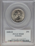 Statehood Quarters, 2008-D 25C Arizona MS68 PCGS. PCGS Population: (8/0). NGC Census:(4/0). . From The jwb1040 Collection. ...