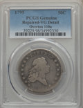 Early Half Dollars, 1795 50C 2 Leaves, O-110a, T-21, R.3, -- Repaired -- PCGS Genuine.VG Details. NGC Census: (1/7). PCGS Population: (1/4). V...