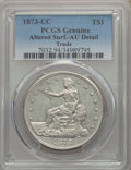 Trade Dollars, 1873-CC T$1 -- Altered Surfaces -- PCGS Genuine. AU Detail. NGCCensus: (2/103). PCGS Population: (21/133). CDN: $2,500 Whs...