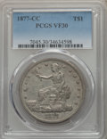 Trade Dollars: , 1877-CC T$1 VF30 PCGS. PCGS Population: (12/193). NGC Census:(6/120). Mintage 534,000. . From The E.B. Strickland Col...