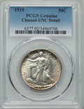 Walking Liberty Half Dollars, 1919 50C -- Cleaned -- PCGS Genuine. UNC Details. NGC Census: (1/239). PCGS Population: (4/366). CDN: $2,000 Whsle. Bid for...