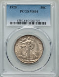 Walking Liberty Half Dollars: , 1920 50C MS64 PCGS. PCGS Population: (437/133). NGC Census: (256/47). CDN: $950 Whsle. Bid for problem-free NGC/PCGS MS64. ...