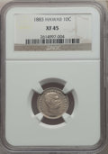 Coins of Hawaii , 1883 10C Hawaii Ten Cents XF45 NGC. NGC Census: (54/264). PCGS Population: (109/375). CDN: $200 Whsle. Bid for problem-free...