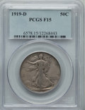 Walking Liberty Half Dollars: , 1919-D 50C Fine 15 PCGS. PCGS Population: (71/653). NGC Census: (38/430). Mintage 1,165,000. ...
