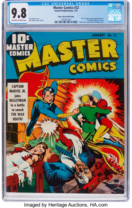 Master Comics #22 Mile High Pedigree (Fawcett Publications, 1942) CGC NM/MT 9.8 Off-white to white pages....