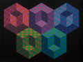 Fine Art - Work on Paper:Print, Victor Vasarely (1906-1997). Hexa 5, from Official ArtsPortfolio of the XXIVth Olympiad, Seoul, Korea, 1988. Silksc...