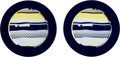 Fine Art - Sculpture, American:Contemporary (1950 to present), Roy Lichtenstein (1923-1997). Untitled, set of two plates,c. 1990. Ceramic in colors with glazing (each). 12-1/4 inch d...(Total: 2 Items)
