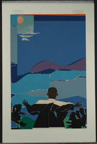 After Romare Howard Bearden Martin Luther King Jr. - Mountain Top, 1968 Screenprint in colors on pa
