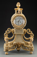 Clocks & Mechanical:Clocks, A French Creme Piente and Giltwood Figural Clock, late 18th century. 23 h x 15-3/4 w x 8 d inches (58.4 x 40.0 x 20.3 cm). ... (Total: 2 Items)