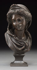 Sculpture, After Albert-Ernest Carrier-Belleuse (French). Untitled (Bust). Bronze with black patina. 8 inches (20.3 cm) high. Inscr...