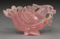 Asian:Chinese, A Chinese Carved Rose Quartz Bird. 5 inches long (12.7 cm). ...