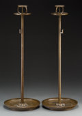 Asian:Japanese, A Pair of Japanese Bronze Shokudai . 30-1/4 high x 10-3/4 inchesdiameter (76.8 x 27.3 cm). ... (Total: 6 Items)