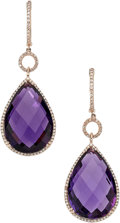 Estate Jewelry:Earrings, Amethyst, Diamond, Rose Gold Earrings. ...