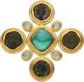 Estate Jewelry:Brooches - Pins, Tourmaline, Ancient Coin, Mother-of-Pearl, Gold Brooch, Elizabeth Locke. ...