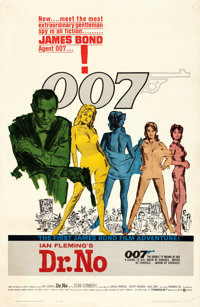 "Dr. No (United Artists, 1962). One Sheet (27"" X 41"") Michael Hooks Artwork"