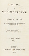 Books:Literature Pre-1900, [James Fenimore Cooper]. The Last of the Mohicans. London:1826. First English edition....