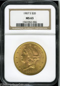 Liberty Double Eagles: , 1907-S $20 MS63 NGC. Luscious pink and green-gold toning adorns each side of this highly lustrous double eagle. Sharply str...