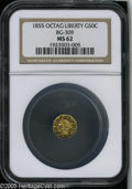 California Fractional Gold: , 1855 50C Liberty Octagonal 50 Cents, BG-309, R.5, MS62 NGC. Thisboldly struck Period One piece is moderately reflective, a...