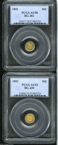 California Fractional Gold: , 1852 50C Liberty Round 50 Cents, BG-401, R.3, AU58 PCGS, a coupleof faint pinscratches on the left obverse field, greenish... (2Coins)