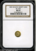 California Fractional Gold: , 1855 50C Liberty Round 50 Cents, BG-405, R.5, MS63 NGC. Die StateIV. Light straw-gold and tan hues embrace this carefully ...