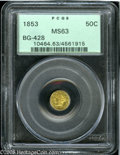 California Fractional Gold: , 1853 50C Liberty Round 50 Cents, BG-428, R.3, MS63 PCGS. Thesurfaces display bright yellow-gold surfaces with orange-tan a...