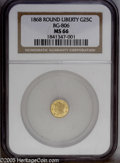 California Fractional Gold: , 1868 25C Liberty Round 25 Cents, BG-806, R.3, MS66 NGC. A pleasingapricot-gold premium Gem, unblemished aside from a faint...