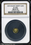 California Fractional Gold: , 1870 25C Liberty Round 25 Cents, BG-808, R.3, MS67 Prooflike NGC.Spectacular quality for this available Period Three issue...