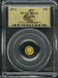 California Fractional Gold: , 1874 25C Liberty Round 25 Cents, BG-844, High R.5, MS63 PCGS. Thegolden-brown fields are reflective where not toned in dus...