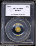 California Fractional Gold: , 1873 25C Indian Round 25 Cents, BG-872, R.5, MS64 PCGS.Greenish-gold in color, with flashy prooflike luster. Generallywel...