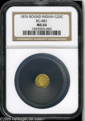 California Fractional Gold: , 1876 25C Indian Round 25 Cents, BG-881, R.5, MS64 NGC. A flashy andattractive near-Gem, impressive from a technical viewpo...