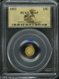 California Fractional Gold: , 1852 25C Indian Round 25 Cents, BG-891, Low R.5, MS65 PCGS. Asharply struck early date, with solid details on frosty devic...