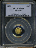 California Fractional Gold: , 1872 50C Indian Octagonal 50 Cents, BG-940, R.4, MS64 PCGS. Aprooflike and impressive example that has a sharp strike and ...
