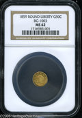California Fractional Gold: , 1859 50C Liberty Round 50 Cents, BG-1003, High R.6, MS62 NGC. Froma rare and crudely engraved variety, this crisply struck...