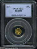 California Fractional Gold: , 1871 50C Liberty Round 50 Cents, BG-1029, High R.4, MS63 PCGS. Aflashy yellow-gold representative, evenly struck aside fro...