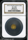 California Fractional Gold: , 1875/3 50C Indian Round 50 Cents, BG-1058, R.3, MS63 Prooflike NGC.A flashy and beautiful canary-gold representative. The ...