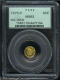 California Fractional Gold: , 1875/3 50C Indian Round 50 Cents, BG-1058, R.3, MS63 PCGS. Thereflective fields are relatively unblemished, and the greeni...