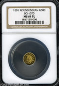 California Fractional Gold: , 1881 50C Indian Round 50 Cents, BG-1070, R.5, MS64 Prooflike NGC.This flashy honey-gold Choice small denomination gold pie...