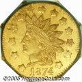 California Fractional Gold: , 1874 $1 Indian Octagonal 1 Dollar, BG-1124, High R.4, MS64 PCGS. Anattractive orange and olive-gold near-Gem that has a go...