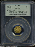 California Fractional Gold: , 1875 $1 Indian Octagonal 1 Dollar, BG-1125, Low R.5, MS61 PCGS.Some wispy slide marks are present in the fields, but this ...