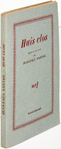 Books:Literature 1900-up, Jean-Paul Sartre. Huis clos. [Paris: 1945]. First edition, inscribed....